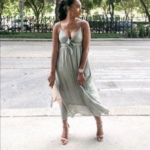 Green Mint Midi Sleeveless Dress - Vici